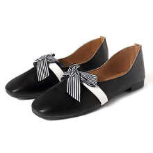 Round Toe Stripes Bowknot Ballet Flats Black 36