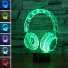 Farfi 3D Visual Headset Design Table LED lamp Room 7 Color Changing Touch Night Light as the pictures