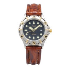 ALBA Jam Tangan Pria - Brown Silver Black - Leather Strap - ATX46K