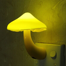 Jantens EU US Plug LED Night Light Mushroom Wall Socket Lights Lamp for Bedroom Home Decoration Yellow