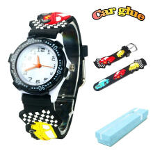Keymao Car Waterproof 3D Cute Cartoon Silicone Wristwatches Gift for Little Girls Boy Kids Children Black