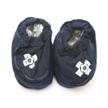 Cribcot Booties with Ribbon - Navy Blue & Broken White Size 0-3M