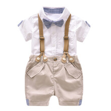 BESSKY Kids Baby Boys Summer Gentleman Bowtie Short Sleeve Shirt+Suspenders Shorts Set_