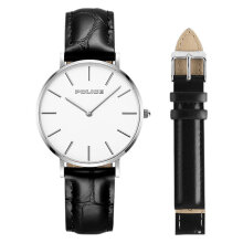 Police PL.15304BS/01SET Men White Dial Black Leather Watch + Extra Strap [PL.15304BS/01SET]