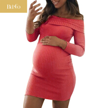 BLINGO Autumn and winter wear maternity dress pregnant women shoulderless sexy mommy clothing manual elasticity