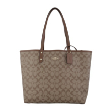 COACH F36658 Reversible City Tote Sign Khaki/Saddle Brown