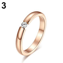 Farfi Men Women Titanium Stainless Steel Rhinestone Wedding Band Finger Knuckle Ring
