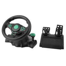 COZIME 180 Degree Rotation ABS Gaming Vibration Racing Steering Wheel With Pedals Green