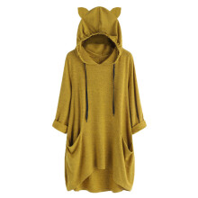 BESSKY Women Solid Long Sleeves Pocket Hooded Irregular Tops Blouse Shirt Sweatshirt _