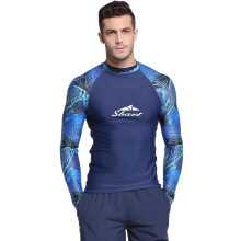 SBART Summer Men Surfing Rashguard T Shirts Long Sleeve Snorkeling Diving Tops Stretchy Swimwear Jellyfish Rash Guard Tops