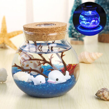 Jantens 3D Micro-landscape DIY Underwater World Glass Bottle Night Light Colored Sea Turtle LED Table Lamp