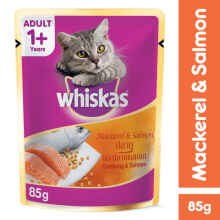 Whiskas Pouch 85Gr Makanan Kucing Mackerel & Salmon [Isi 6 Pack] 111563X6