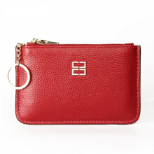 Jantens Women clutch bag purse brand new small bag leather card bag handbag ultra-thin zipper purse Red