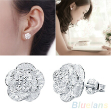 Farfi Women's Fashion Piercing Jewelry Romantic Silver Plated Flower Stud Earrings