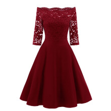 Xi Diao Elegant Women One-shoulder Lace Dress