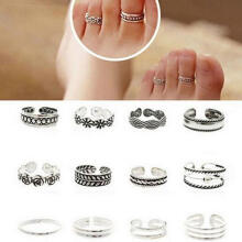 Farfi 12Pcs/Set Retro Hollow Flower Adjustable Open Toe Rings Finger Foot Jewelry as the pictures
