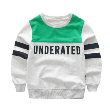 Children's round collar and casual boys' letters printed stripes