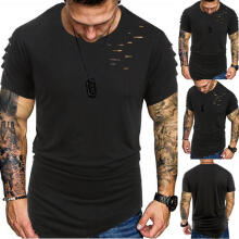 Men Summer Fashion Solid Punk Style Destroy Design T-shirt Casual Shirts Tops
