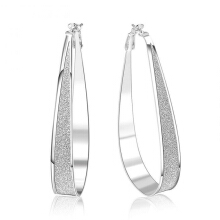 Anamode Luxury Women Earrings 925 Plated Silver Big Round Hoop Ear Ring Romantic Jewelry -Silver