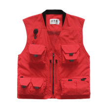 COZIME Spring Summer Men Outdoor Fishing Vest Multi-pocket Photography Mesh Red XXXL
