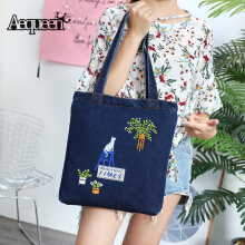 Zanzea 0051AEQUEEN Cute Cat Denim Women Handbags Shoulder Bag Jean Cloth Shopping Bags Casual Totes Lovely Animal Handle Bags For Ladies Black