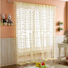 BL 1pc Romantic Heart Shape Line Curtain Living Room Screening Deco -Onesize -