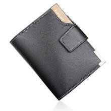 [LESHP]Men Multifunctional Zip Buckle Short 3 Folding Wallet Money Clip Purse Black