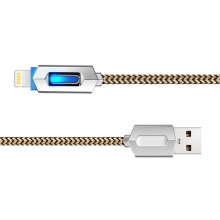 [kingstore] LED Luminous Charger Cable Nylon Braided Charging Data for iPhone Gold