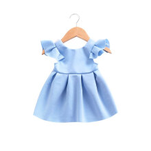 girls dress baby small flying sleeves lace bow back princess dress Stylish 80cm