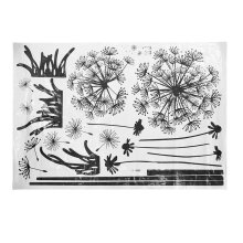 [kingstore]Black Dandelion Wall Stickers Living Room Bedroom Dream Flying Home Decor Black Black