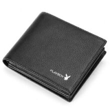 Playboy PAA1807-6B Men's multi-functional wallet Cowhide leather cross section multi-card casual men's wallet-black