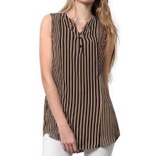 Women Sleeveless Striped Printed V Neck Casual Blouse Shirt Tops