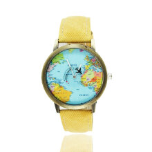 Quartz watches Men's Watch World Maps Airplane Pattern Canvas Straps Quartz Movement Unisex Wrist Watches