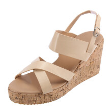BESSKY Women Peep Toe Breathable Beach Sandals Boho Bukcle Strap Casual Wedges Shoes_