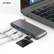 JOYSEUS USB C Dongle Thunderbolt 3 Dock Adapter With USB C 3.0 SD TF Card Reader Type C PD Charging Port Combo For Macbook pro Grey