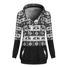 BESSKY Womens Christmas Printed Hoodies Sweatshirt Xmas Ladies Tops Jumper Pullover_