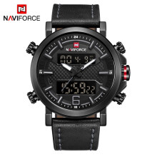 NAVIFORCE Men Dual Display Quartz Analog Leather Watches Fashion Sport Leather Waterproof Wristwatches