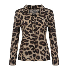 BESSKY Women Long Sleeve Casual Leopard Printing Button Shirt Tops Blouse_