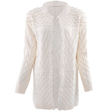 Aosen Stylish Round Collar Long Sleeve Beaded Pure Color Ladies Knit Cardigan