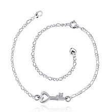 SESIBI 1pc Key Heart Pendant Anklet Foot Chain Hand Bracelet Wedding Women Fine Jewelry Gift Silver