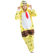 SESIBI S~XL Women Man Flannel Cartoon Lingerie Animal Siamese Pajamas Couples Home Clothes -Spongebob -