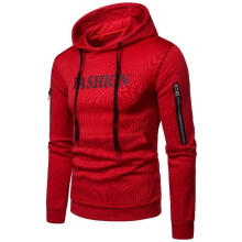 New hooded hooded letter print fashion sweater men's autumn-Red-M