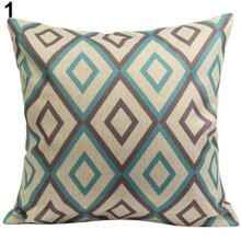 Farfi Vintage Geometric Flower Cotton Linen Throw Pillow Case Cushion Cover Home Decor