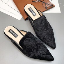 Luxury Pointed Toe Embroidered Flat Loafers Black 40