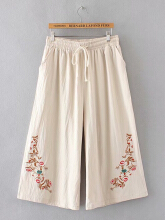 Folk Drawstring Embroidery Wide Leg Pants Rust Red XL