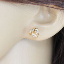 musheng jewelry 18k gold-plated inlaid high quality zircon small fresh stud earrings