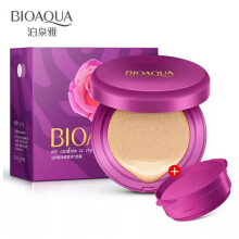 Bioaqua Net Aqua Air Cushion Rose Extract CC Cream & BB Cream Waterproof - 91gr - Natural Skin + Free Refill