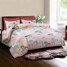 KING RABBIT Bedcover Double Motif Kawaii - Peach/ 230 x 230cm Peach