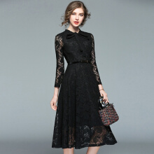 Allgood Fashion Spring British Style Long-sleeved Hollow-out women dress Lace Slim Bottoming  A-line Swing Under Dresses