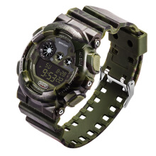 SANDA 289 Digital Watch Camouflage Style Military Waterproof Men Sport Wrist Watch  Dark Green